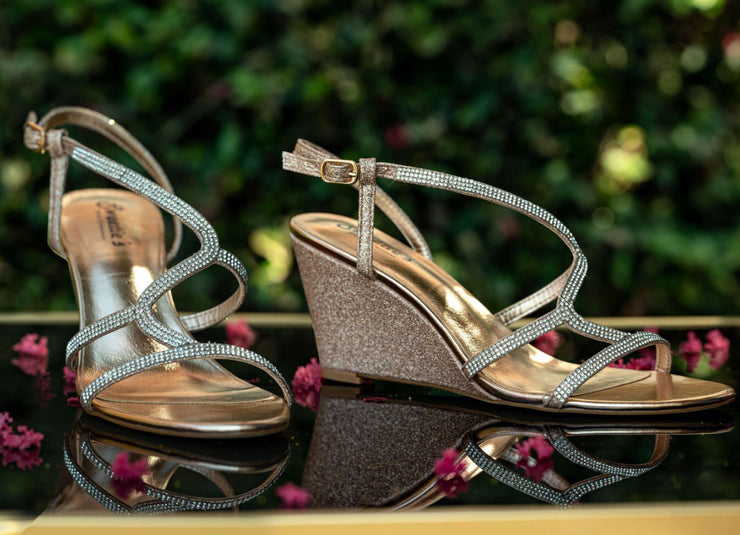 Miss Carrie Rose Gold Wedge Shoe - Chicago Bridal Store Company