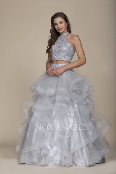 Breathtaking Gray 2-Piece  Prom Dress - Chicago Bridal Store Company