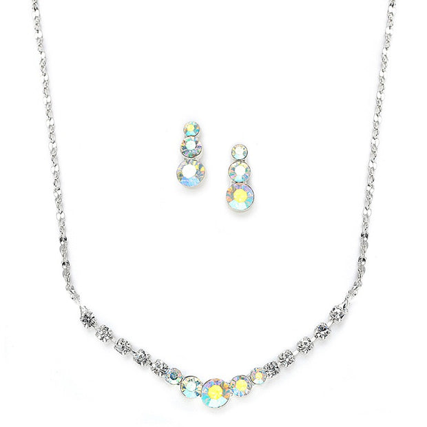 Dainty AB Crystal Rhinestone Prom or Bridesmaid Necklace Set - Chicago Bridal Store Company
