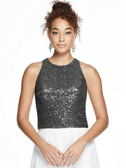 Sleeveless Sequin Jewel Neck Top - Chicago Bridal Store Company