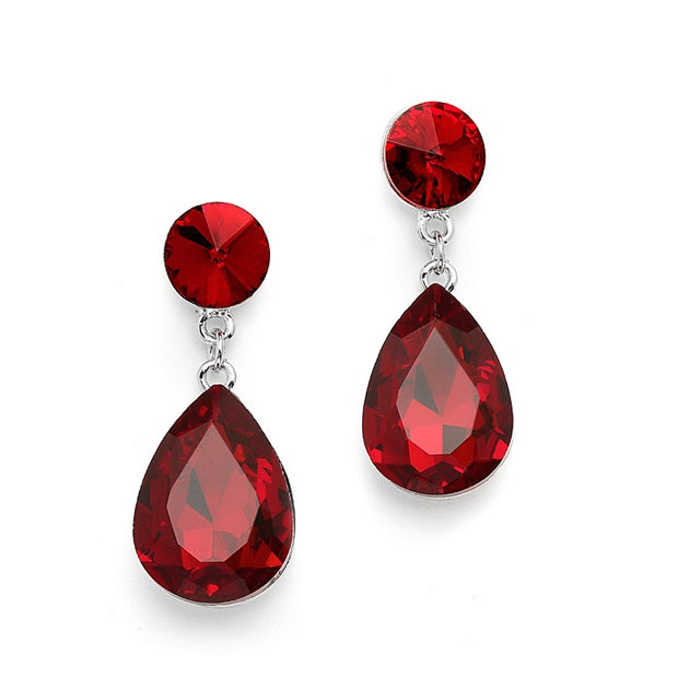 Color Splash Pear-shaped Drop Earrings - Ruby Red - Chicago Bridal Store Company