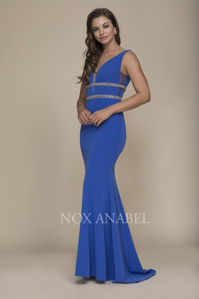 Royal Blue V-Neck Beaded Long Dress  Prom Collection - Chicago Bridal Store Company