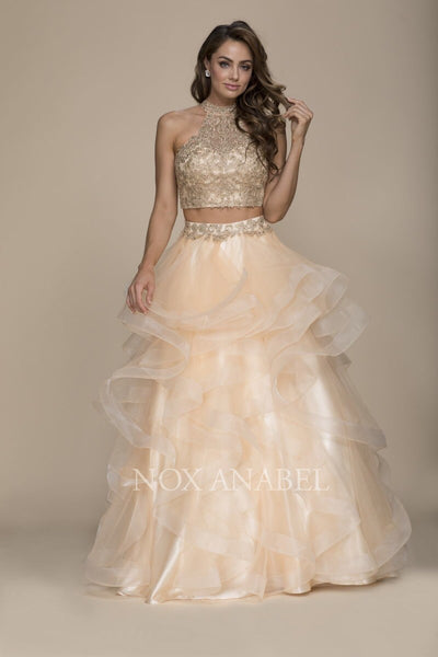 Gorgeous Gold 2 Piece Long Prom Dress - Chicago Bridal Store Company