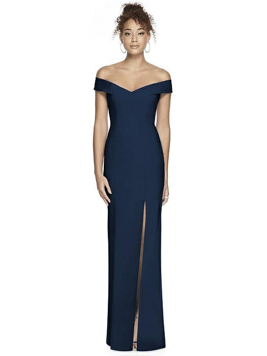 Crisscross Back Off Shoulder Full Length Formal Gown