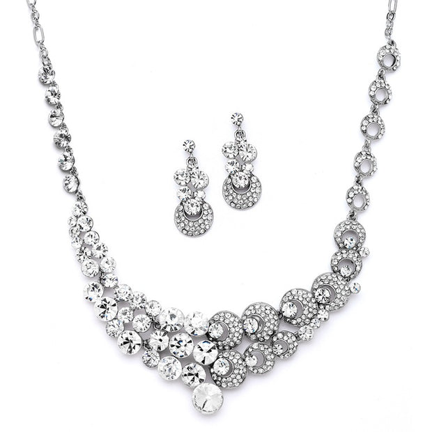 Unique Split Design Bold Crystal Bridal Statement Necklace Set - Chicago Bridal Store Company