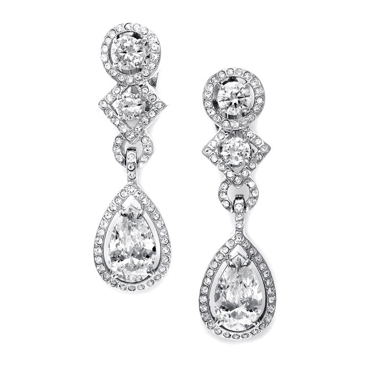 CZ Clip-On Wedding Earrings with Pear Dangle