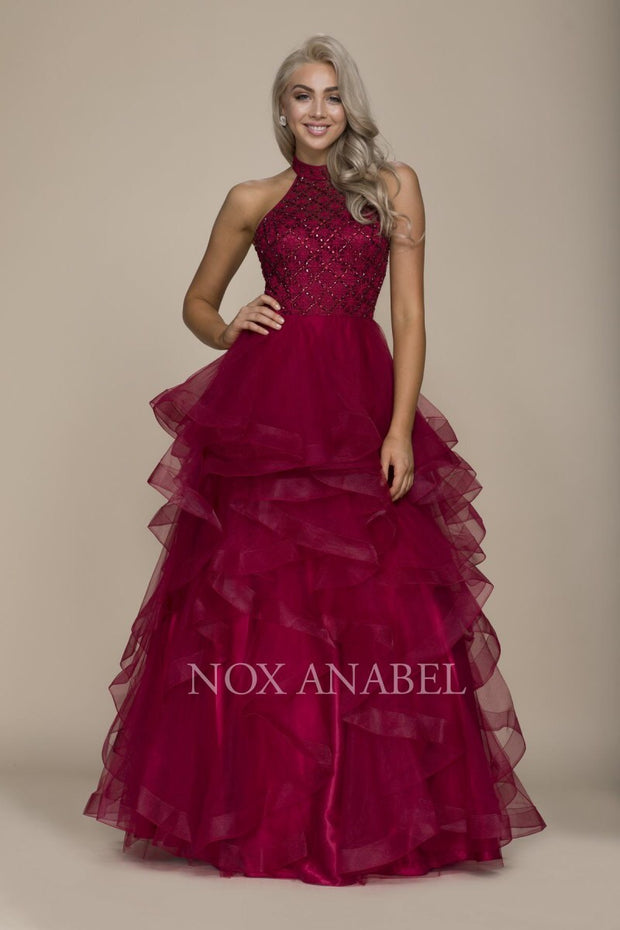 Burgundy Halter Beaded Tulle Long - Chicago Bridal Store Company