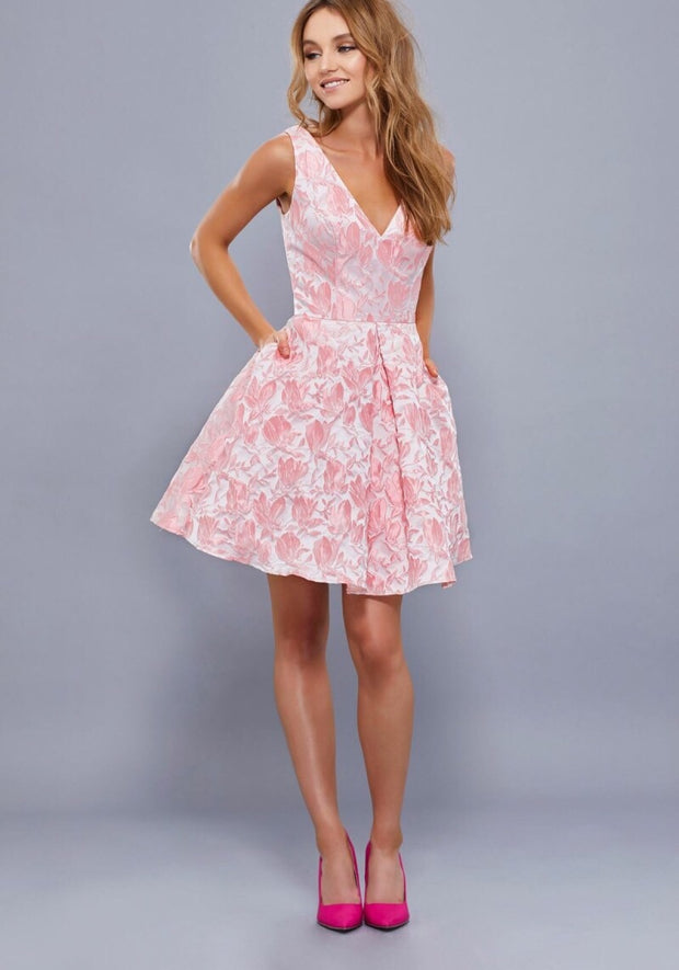 BLUSH PINK FLORAL EMBROIDERED SHORT DRESS - Chicago Bridal Store Company