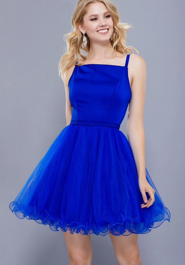 Royal Blue SHORT SLEEVELESS DRESS WITH TULLE RUFFLED SKIRT - Chicago Bridal Store Company