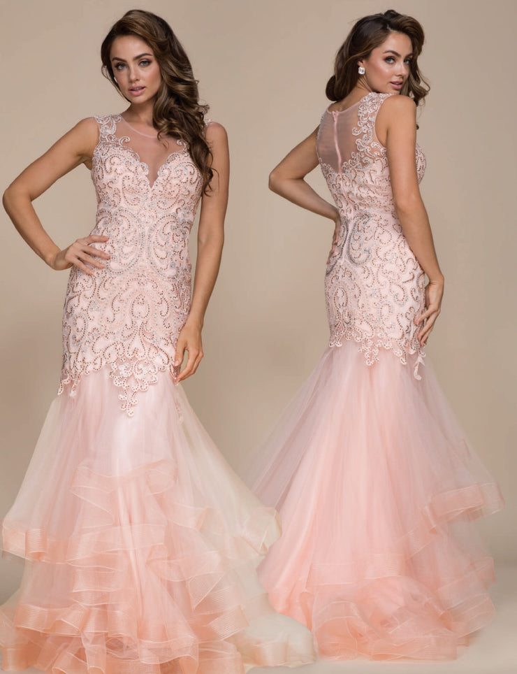 Blush Tulle Mermaid  Long Dress - Chicago Bridal Store Company