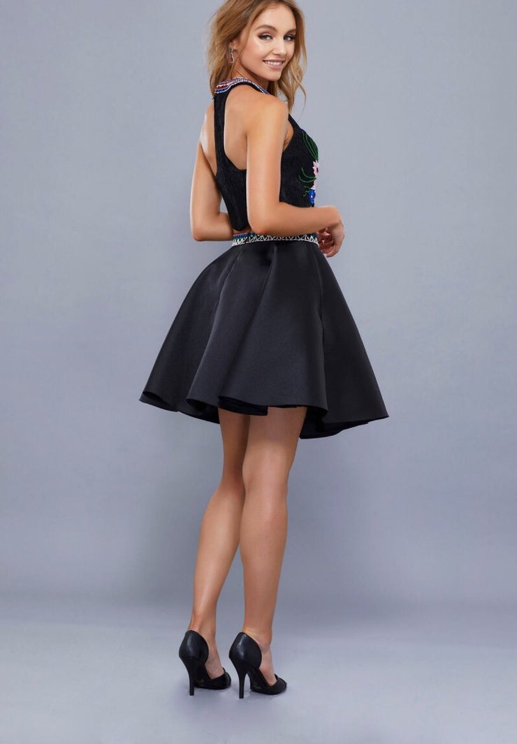 TWO PIECE MIKADO SKIRT WITH EMBROIDERED TOP BLACK DRESS - Chicago Bridal Store Company