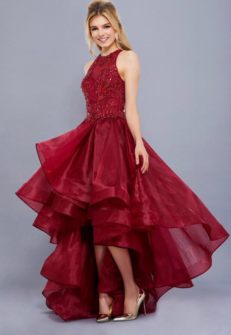 Burgundy Hi-Lo Dress with High Neckline - Chicago Bridal Store Company