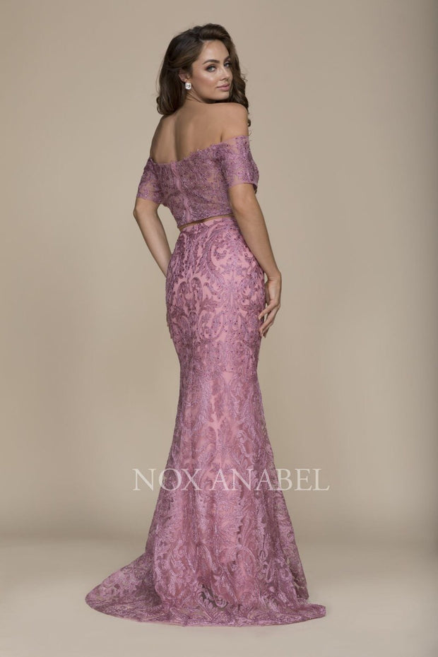 2-Piece Off Shoulder Mauve Pink Prom Dress - Chicago Bridal Store Company