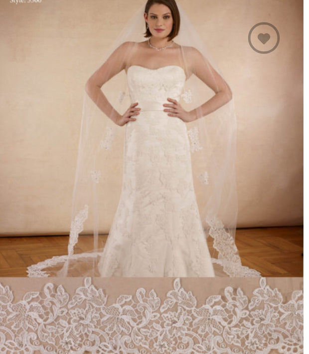 Cathedral Six Appliqués Lace Veil - Chicago Bridal Store Company