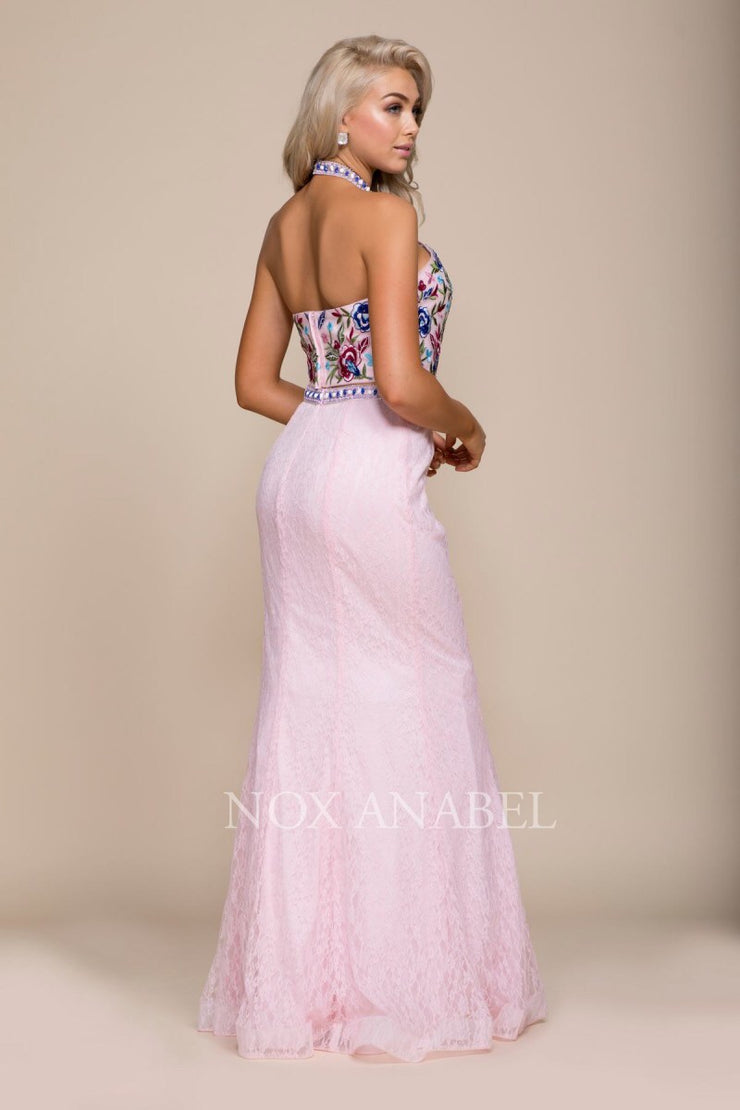 Ivory 2-Piece Halter Dress with Floral Bodice - Chicago Bridal Store Company