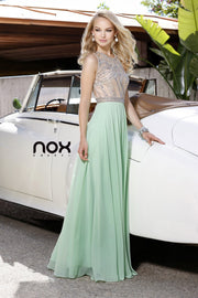 Light Green Crystal Encrusted Bodice Long Prom Dress - Chicago Bridal Store Company