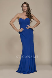 Royal Blue Strapless Formal Prom Dress - Chicago Bridal Store Company