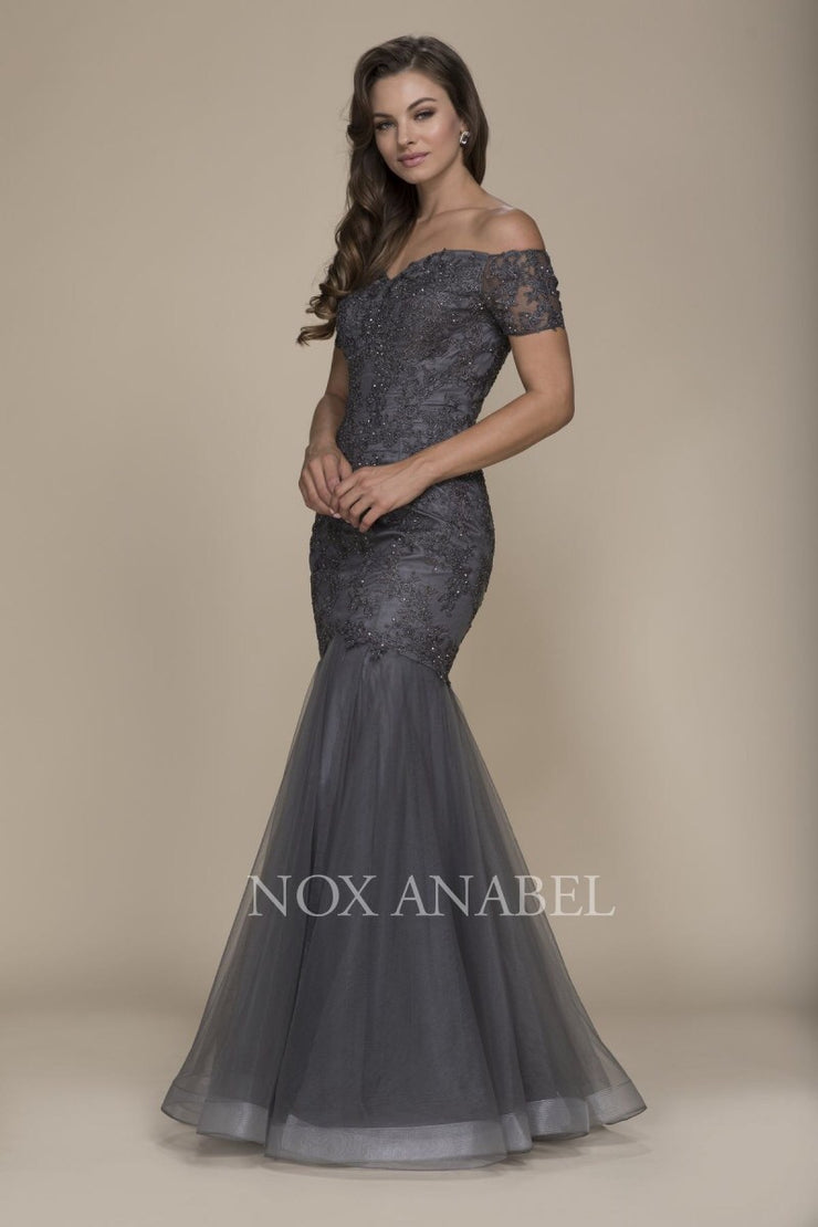 Gray Off Shoulder Mermaid Dress Prom Collection - Chicago Bridal Store Company