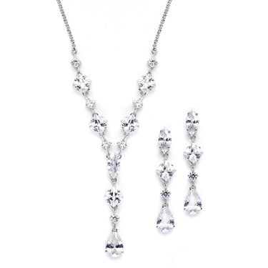Glamorous Mixed Cubic Zirconia Wedding Necklace & Earrings Set - Chicago Bridal Store Company