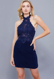 NAVY JERSEY SKIRT LACE APPLIQUE TOP DRESS - Chicago Bridal Store Company