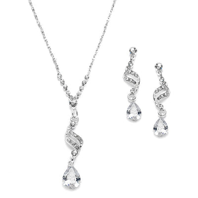 Dainty Necklace & Earrings Set with CZ Teardrops - Chicago Bridal Store Company