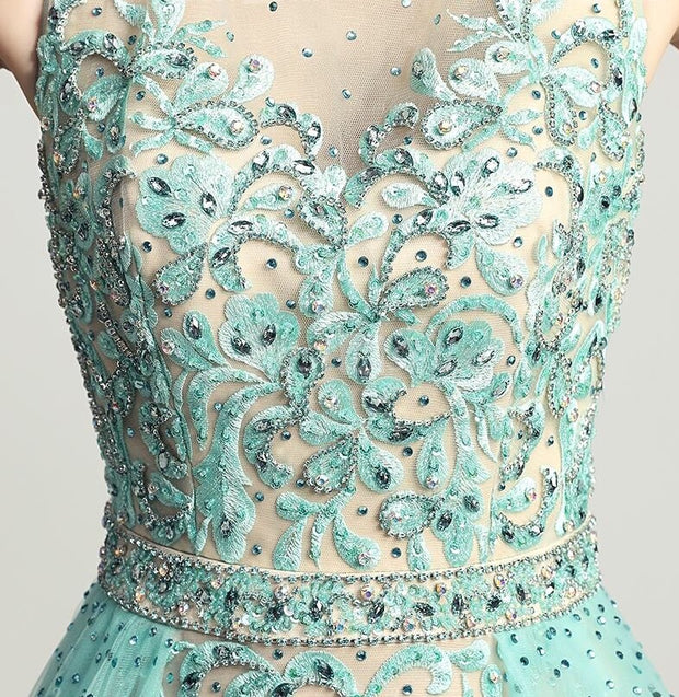 Mint Green Crystal Layered Princess Dress - Chicago Bridal Store Company
