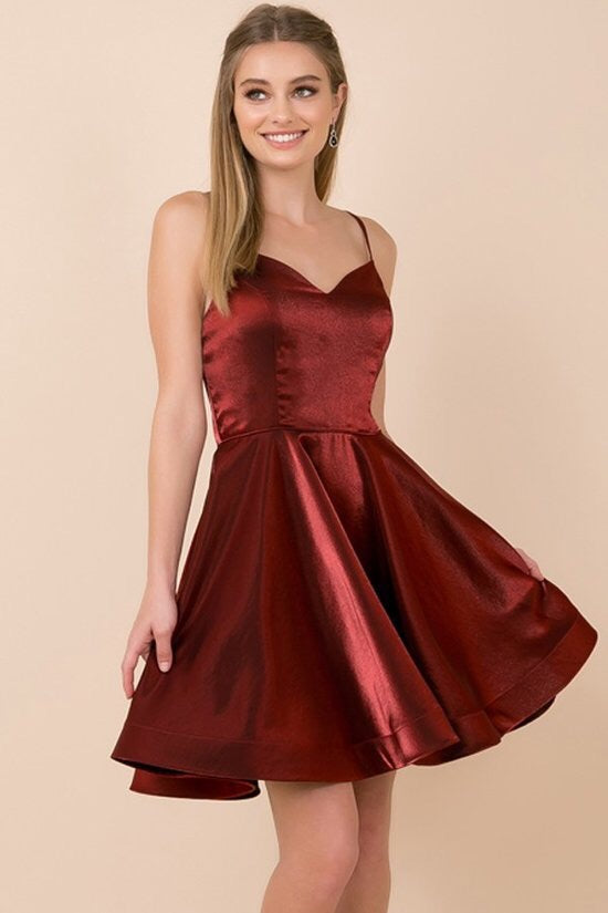Burgundy Cocktail Length Dress - Chicago Bridal Store Company