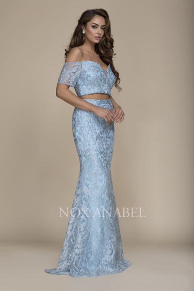 2-Piece Off Shoulder Baby Blue Prom Dress - Chicago Bridal Store Company