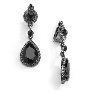 Jet Black Crystal Clip-On Earrings with Teardrop Dangles - Chicago Bridal Store Company