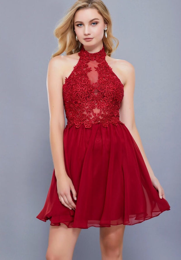 BURGUNDY LACE HALTER CHIFFON DRESS - Chicago Bridal Store Company