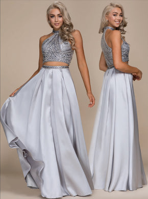 Sliver Jewel Encrusted 2-Piece 2018 Formal Dress