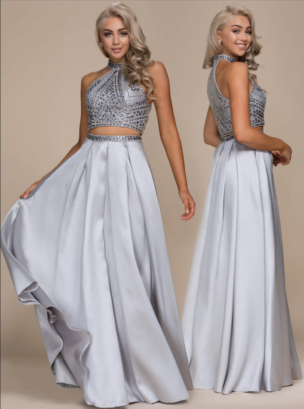 Sliver Jewel Encrusted 2-Piece  Formal Dress - Chicago Bridal Store Company