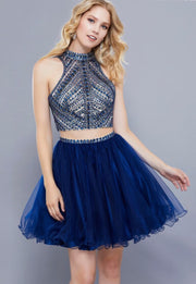 Navy Two Piece Dress with Tulle Skirt and Beaded Top - Chicago Bridal Store Company