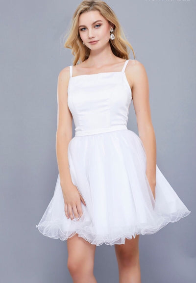 WHITE SHORT SLEEVELESS DRESS WITH TULLE RUFFLED SKIRT - Chicago Bridal Store Company