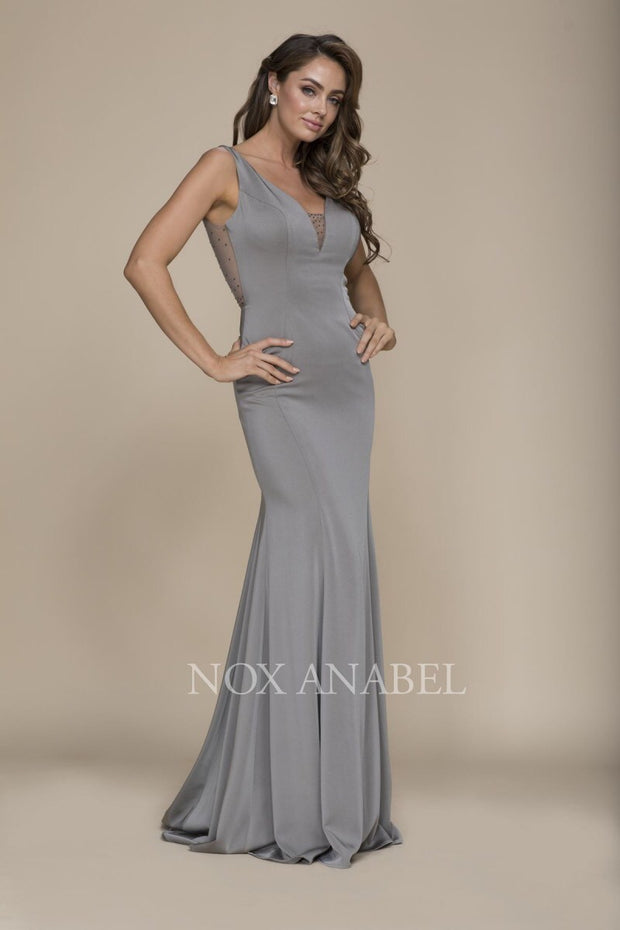 Gray Long evening prom dress - Chicago Bridal Store Company