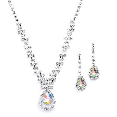 Prom or Bridesmaids Rhinestone Necklace Set with AB Caged Pear 4140S-AB - Chicago Bridal Store Company