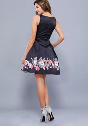 Black with Floral Print Enclosed Back Short Dress - Chicago Bridal Store Company
