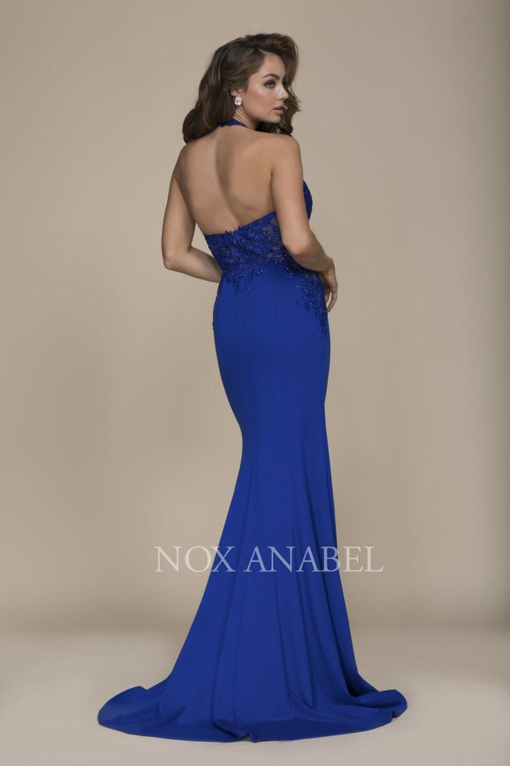 Royal Blue Halter  Prom Dress - Chicago Bridal Store Company