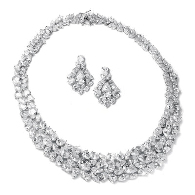 Ravishing Cubic Zirconia Wedding Necklace Set - Chicago Bridal Store Company