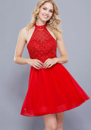 Red Fit and Flare Short Dress - Chicago Bridal Store Company