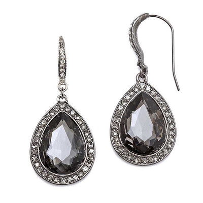 Black Diamond Teardrop Earrings with Pave Accents - Chicago Bridal Store Company