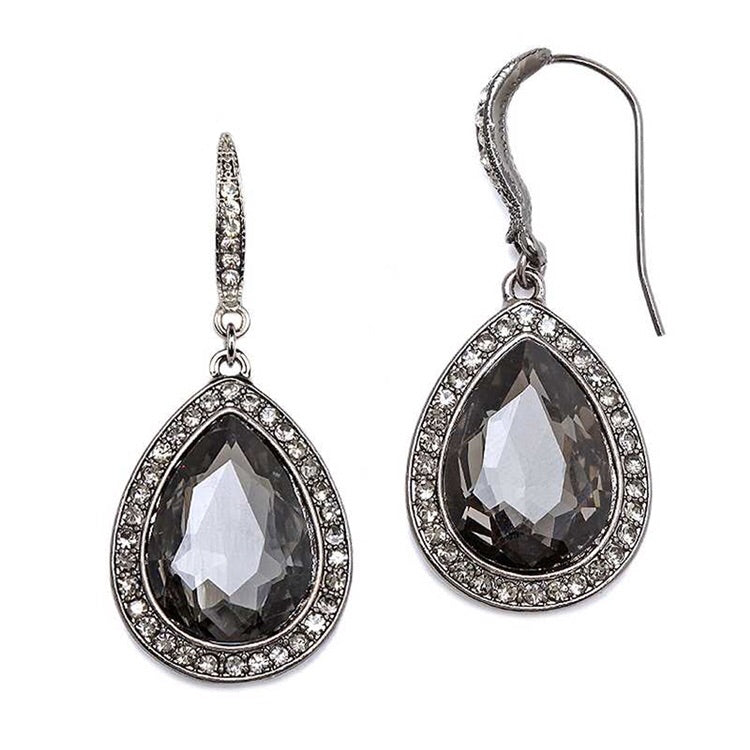Black Diamond Teardrop Earrings with Pave Accents