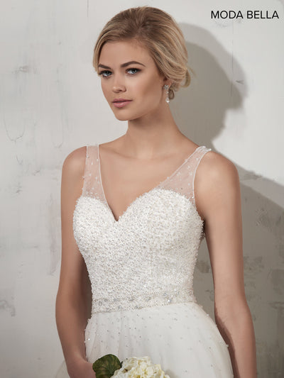 Illusion V-Neck Wedding Dress- Marys Bridal MB2013 - Chicago Bridal Store Company