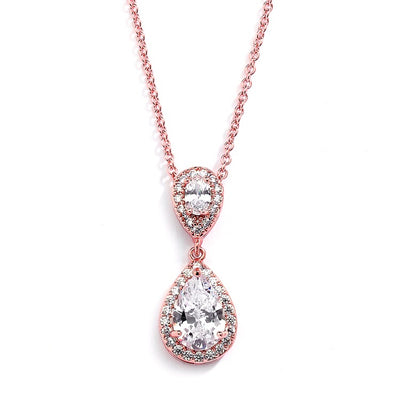 Lustrous Rose Gold Cubic Zirconia Teardrop Wedding Pendant - Chicago Bridal Store Company