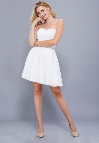 White Strapless w/ Sweetheart Neckline Short Dress - Chicago Bridal Store Company