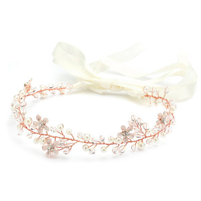 Designer Handmade Rose Gold Bridal Headband with Dainty Floral Vines 4564HB-I-RG - Chicago Bridal Store Company
