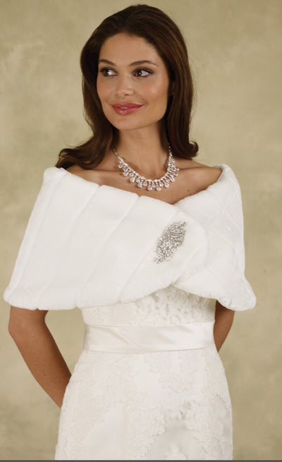 Regal Faux Fur Cape Ivory or White M7108 - Chicago Bridal Store Company