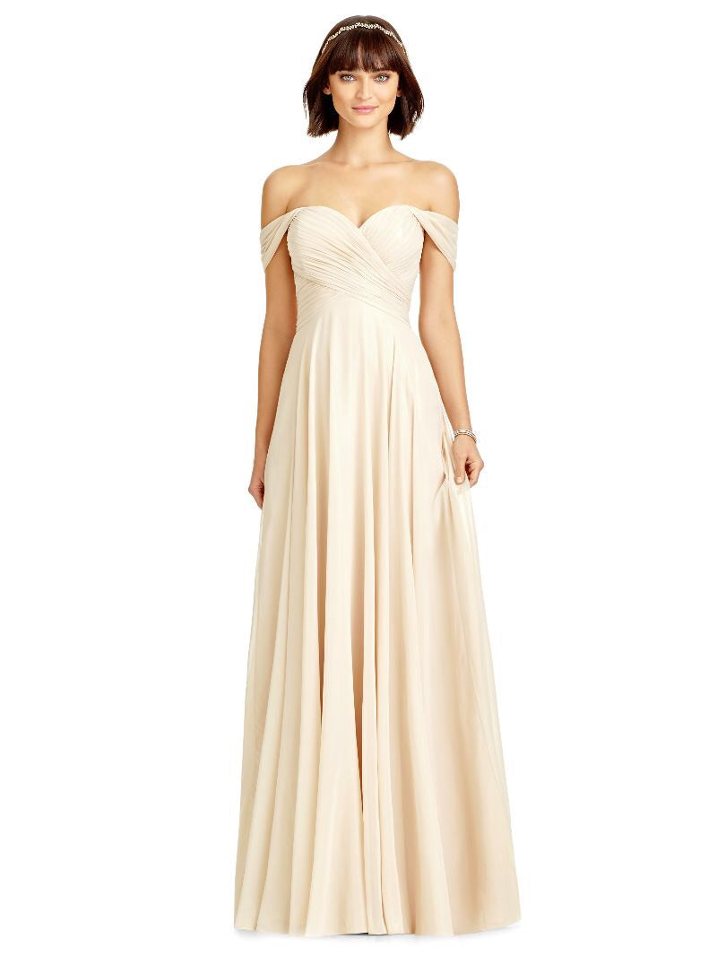 Dessy 2970 Off Shoulder Lux Chiffon Bridesmaids Dress