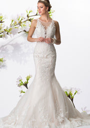 Illusion V-Neck Mermaid Wedding Dress Item #GL2369 by Elizabeth K - Chicago Bridal Store Company