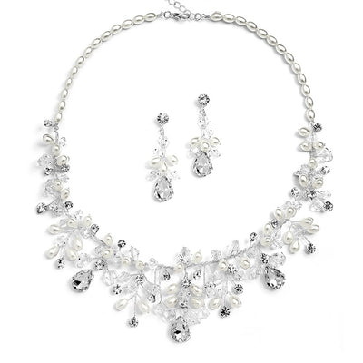 Handmade Bridal Necklace Set with Assorted Crystals and Rice Pearls - Chicago Bridal Store Company